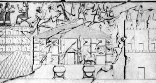Der Tempel des Gottes Ḫaldi auf einem assyrischen Relief